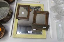 Vintage yellow painted mirror and another, approx 45cm H x 30cm W and smaller (2)