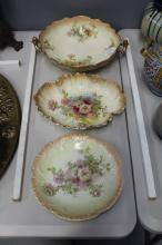 Royal Devon twin handle bowl and dish along with a Myott plate, approx 33cm W and smaller, approx 33cm W and smaller (3)
