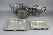 Assortment of silver plate pieces to include teapots, trays etc, approx 22cm H and shorter (6)