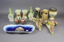 Assortment of estate porcelain to include beer steines, wall pockets, dish, etc