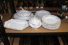 Part dinner service to include plates, turreens, platter, etc