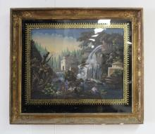 Antique French school, water mill scene, oil painting, eglomise glass surround, all in a gilt frame, approx 45cm x 59cm