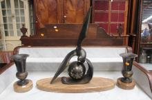 Art Deco mantle seagull clock and garnitures, M. Leduco?, has key (in office C101.228) clock approx 58cm H x 60cm W x 19D (3)