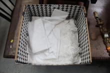 Box of estate linen including Edwardian lace clothes