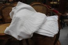Two antique French top sheets with draw thread work and embroided initials LB & EG (2)