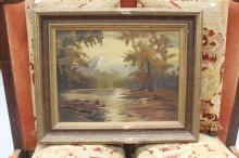 An antique New Zealand School oil on canvas original frame, approx 40cm x 52cm