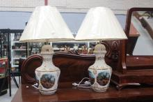 Pair of Italian Capodimonte hand painted lamps, approx 72cm H (2)