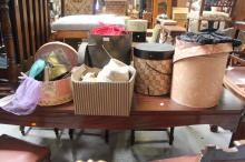 Assortment of vintage hats, boxes and stockings, etc