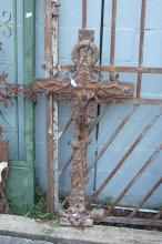 Antique French cast iron cross, approx 122cm H