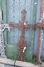 Antique French cast iron cross, approx 125cm H