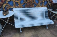 Antique French garden bench with cast iron supports, approx 130cm L