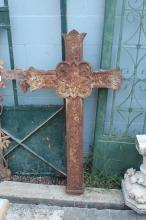 Antique French cast iron cross, approx 111cm H