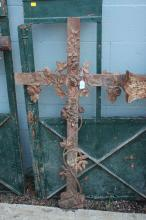 Antique French cast iron cross, approx 120cm H