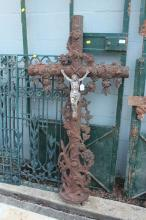 Antique French cast iron cross, approx 130cm H