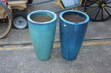 Pair of industrial shaped garden pots, approx 60cm H (2)