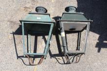 Pair of Antique French lanterns, each approx 67cm H x 36cm sq (2)