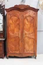 Impressive Antique 19th century French cherrywood double domed top armoire, approx 242cm H x 152cm W x 67cm W D