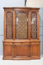 Large impressive antique French walnut three door bookcase, with leadlight doors to the top section, approx 275cm H x 194cm W