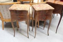 Pair of French Louis XV parquetry nightstands, each approx 75cm H (2)