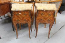 Pair of French parquetry marble topped nightstands, each approx 73cm H (2)