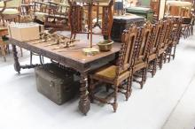 Impressive antique French oak extension dining table, standing on six legs extended, (please note the width of this table), approx 75cm H x 170cm W x 340cm L