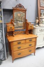 Art Nouveau pine duchess, with four drawers below and two small trinket drawers above either side of the mirror approx 200cm H x 107cm W x 50cm D