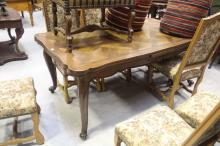 French Louis XV style drawer leaf parquetry dining table, approx 74cm H x 175cm W (closed) x 100cm D