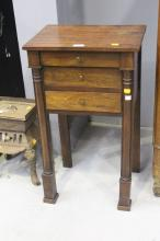 French Empire style three drawer nightstand, approx 73cm H