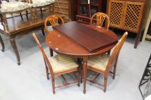 Swedish Gustavian style dining table and chairs, table approx 74cm H x 110cm Dia (5)