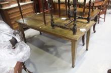 French rectangular dining table with square, tapering legs, brass banding and cup feet, approx 75cm H x 185cm L x 84cm W