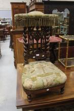 Antique French upholstered prayer chair