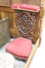Antique French faux grain painted prayer chair, approx 100cm H