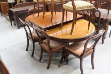 Regency style double pedestal dining table with additional leaf extension, approx 74cm H x 243cm W (extended) x 106cm D