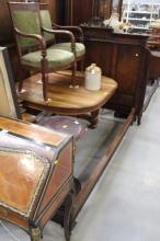 Antique French oak bed, approx 150cm H x 200cm L x 139cm W