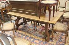 Spanish dining table with wrought iron support base, approx 75cm H x 180cm W x 90cm D