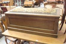 Antique French trunk / blanket box with upholstered top, approx 48cm H x 119cm W x 55cm D