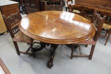 19th Century burr walnut English flip top dining table. The burr walnut being of a large quatered sectional veneer.
