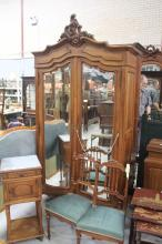 French two door Armoire, approx 237cm H x 121cm W x 52cm D
