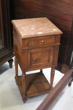 French Henri II nightstand, with single drawer and door, approx 81cm H