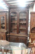 Antique French two height bookcase & sideboard combination, approx 265cm H x 148cm W x 62cm D