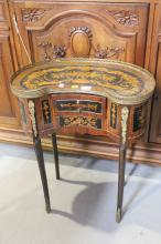 Small French three drawer parquetry nightstand, approx 70cm H