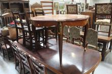 Vintage French parquetry circular dining table, approx 74cm H x 110cm dia