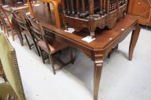 French Art Deco dining table with stylised tapering legs, approx 78cm H x 200cm W x 108cm D