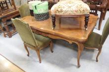 Vintage French Louis XV style drawer leaf dining table, approx 75cm H x 165cm W (closed) x 105cm D