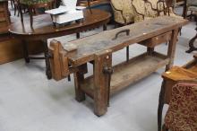 Antique Work bench, along with winder, bull dog clip etc, approx 95cm H x 214cm L x 50cm D