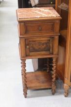 French nightstand, with marble top, approx 96cm H