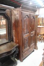 Antique French provincial two door armoire, late 18th early 19th c, approx 212cm H x 112cm W x 47cm D