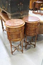 Pair of French Louis XVI style circular marble topped nightstands, each approx 80cm H x 42cm dia (2)