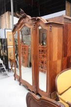 French Louis XV style three door armoire, approx 256cm H x 208cm W x 56cm D