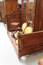 French Henri II bed, approx 160cm H x 200cm L x 145cm W